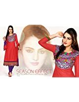 Jazzy Red Embroidered Anarkali Suit D1014
