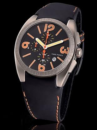 Time Force TF2953M12 - Reloj analógico de caballero de cuarzo con correa de piel negra - sumergible a 50 metros
