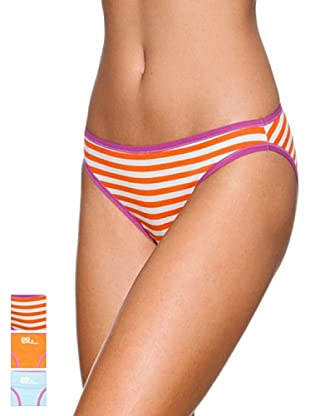 Princesa Pack x 3 Braguitas Bikini Algodón Triplets (Naranja / Celeste / Rayas)