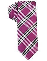 Scott Allan Men's 100% Silk Plaid Necktie - Orchid Purple/Black