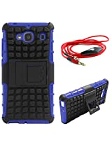 DMG Dual Hybrid Hard Grip Rugged Kickstand Armor Case for Xiaomi Redmi 2 (Blue) + 3.5mm Flat AUX Cable with Mic