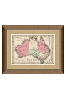 """Johnson and Ward Antique Map of Australia, 1860's, 24"""" x 26"""""""