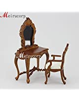 1/12 Scale Miniature Well Made Handmade Wooden High Quality Vanity Mirror Chair