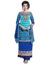 Vibes Women Gorgette Salwar Suit Dress Material (V170-1406 -Blue -Free Size)
