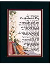 For My Son on Graduation Day Touching 8x10 Poem Double-matted in Dark Green Over Burgundy and Enhanced with Watercolor Graphics. A Graduation Gift.