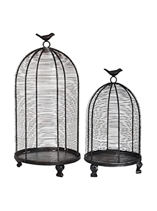 A&B Home Set of 2 Decorative Black Metal Bird Cages