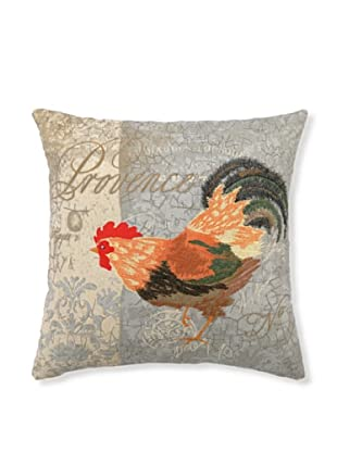 """Kathryn White Rooster Provencal II Pillow, 18"""" x 18"""""""