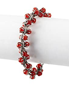 Tuleste Market Small Marbled Claw Bracelet, Antique Silver/Red Cat Eye