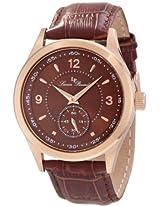 Lucien Piccard Men's 11606-RG-04 Grande Casse Brown Dial Brown Leather Watch