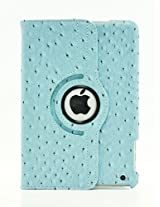 LiViTech(TM) Ostrich Design Series 360 Rotating PU Leather Case Smart Cover for Apple iPad Mini (Blue)