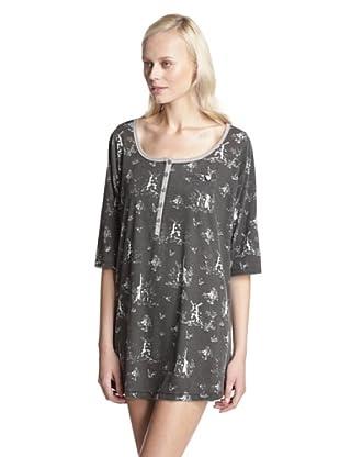 BH PJ's by BedHead Pajamas Women's Placket Nightshirt (Toile Black)
