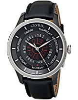 Gevril Men's 2006 Columbus Circle Stainless Steel Automatic Self-Wind Watch With Black Leather Band