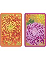 Entertaining with Caspari Double Deck of Bridge Playing Cards with Jumbo Typeface, Chrysanthemums, Set of 2
