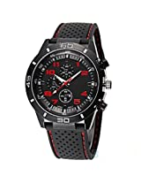 eDealz New Arrival Fashion Cool Sports Black Rubber Strap Analog Military Quartz Watch