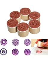 6pcs Assorted Floral Flower Pattern Round Wooden Rubber Stamps By Bufferman