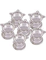 Jaipur Trade Silver Plated Diya (13 cm x 13 cm x 1 cm, Silver, Pack of 6)