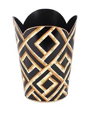 Jayes Bamboo Tulip Wastebasket, Black