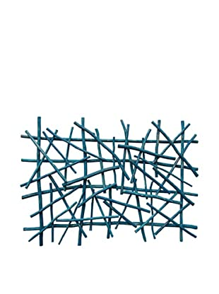 Asian Art Imports Stick Wall Art (Grey/Turquoise)