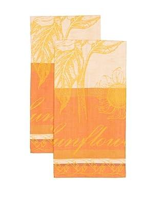 Mierco Fine Linens Set of 2 Sunflowers Jacquard Tea Towels (Red)