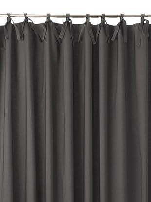 Coyuchi Pin Tuck 300 Percale Shower Curtain, Charcoal
