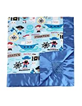 "My Blankee Pirates Treasure Minky Blue w/ Minky Dot Electric Blue Baby Blanket, 30"" x 35"""