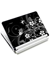 Meffort Inc 17 17.3 inch Laptop Skin Sticker Cover Art Decal Fits 16 17 18 19 Notebook PC (Free Wrist Pad) - Black White Flower Butterfly Design