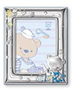 Silver Touch USA Sterling Silver Picture Frame, Choco Bear Playing with Toys, 4
