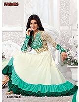 Fabliva Kriti Sanon White And Sky Long Length Designer Anarkali Suit