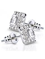 Round and Baguette Diamond Stud Earrings 1/5 Carat (ctw) in 10K White Gold