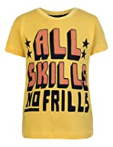 Saps Short Sleeves T Shirt Yellow - All Skills No Frills Print