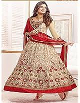 Sayali Bhagat Party Wedding Designer Anarkali Red & Cream Salwar Kameez Suit