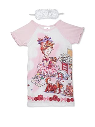 Fancy Nancy Girl's Nightgown with Eye Mask (White/Pink)