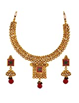Antique Ruby Square Spiral Checker AD Necklace and Jhumki Earrings