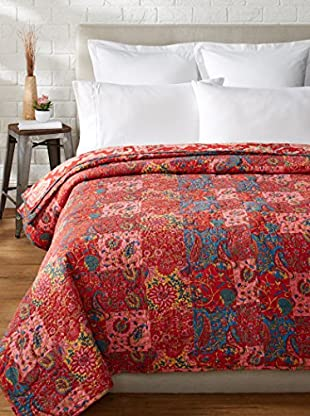 North Rodeo Collection Floral Block Hand Stitched King Quilt, Red/Multi