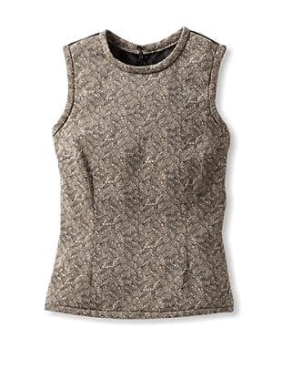 RODARTE Women's Sleeveless Jacquard Top with Contrast Back (Black/Beige)