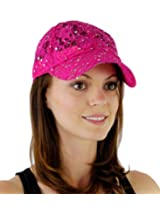 Women's Lace Glitter Sequin Baseball Hat Cap Fuchsia