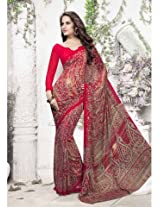 Riti Riwaz Red Soft Georgette Saree With Unstitched Blouse