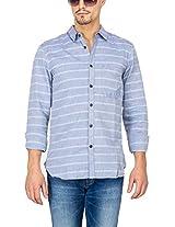 Slub Mens Casual Shirt(SLSH000907A-S_Blue_S)