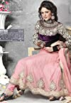 Dani Creations Gold Embroidery Anarkali Suit - Deep Pink