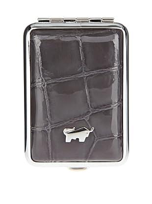 Braun Büffel Pillendose Glanzkroko (Grau)