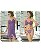Indiatrendzs Women's Sexy Hot Nighty Purple 3pc Set Baby Doll Nightwear Freesize
