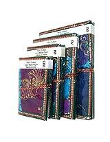 R S Jewels Handmade Paper Printed Patchwork Diary Notbook 4 Pcs Set DRY-0210