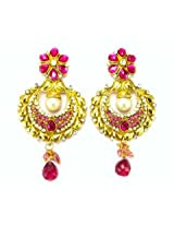 Orne Jewels Ethnic Designer Gold Earrings with Pink Gemstones