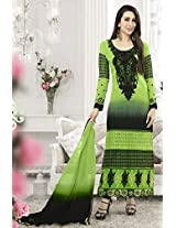 Stylish Shaded Green and Black Semi Stitched Suit Material