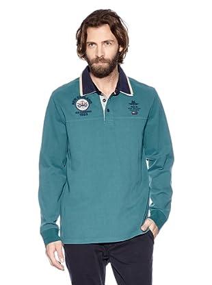 NZA New Zealand Auckland Polo Estilo Rugby Teutrania (Azul Verdoso)