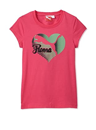 PUMA Girl's Heart Crew Neck Tee (Pink Icon)