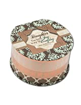 Cottage Garden Daughter Belle Papier Round Musical Jewelry Box Inspirational with Damask Finish Plays Amazing Grace