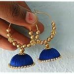Blue silk thread hoop jhumka by Sayee Creation
