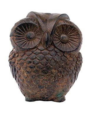 Asian Art Imports Bronze Owl, Green/Brown