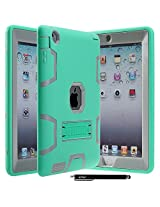 iPad 4 Case, iPad 3 Case, iPad 2 Case - E LV Shock-Absorption / High Impact Resistant Hybrid Dual Layer Armor Defender Full Body Protective Case Cover with 1 Stylus - MINT / GREY